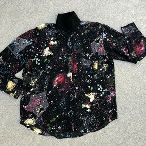 Glamourous Sheer Galaxy Space Button Down Shirt S